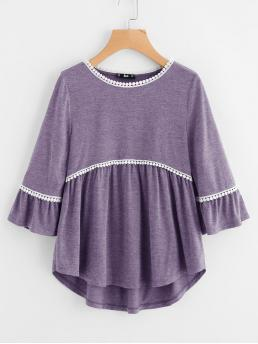 Casual Asymmetrical Regular Fit Three Quarter Length Sleeve Flounce Sleeve Pullovers Purple Regular Length Dot Crochet Trim Curved Dip Hem Top