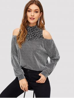 Glamorous Leopard Top Regular Fit Cold Shoulder and Stand Collar Long Sleeve Pullovers Grey Regular Length Leopard Yoke Cold Shoulder Glitter Top