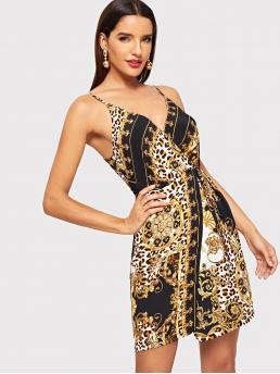 Sexy Cami Leopard Regular Fit Spaghetti Strap Sleeveless Natural Multicolor Short Length Scarf And Cheetah Print Cami Dress