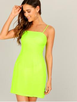 Sexy Cami Plain Slim Fit Spaghetti Strap Sleeveless Natural Green and Bright Short Length Neon Lime Bodycon Cami Dress