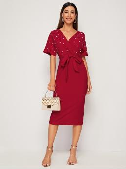 Elegant Fitted Plain Pencil Regular Fit V neck Short Sleeve Batwing Sleeve High Waist Red and Bright Long Length Surplice Wrap Belted Pearls Beaded Dress with Belt