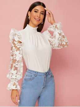 Elegant Floral Top Regular Fit Stand Collar Long Sleeve Flounce Sleeve Pullovers White Regular Length Embroidered Mesh Ruffle Trim Blouse