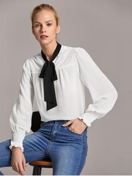 Preppy Top Regular Fit Stand Collar Long Sleeve Bishop Sleeve Pullovers White Regular Length Premium Tie Neck Beaded Yoke Shirred Cuff Top