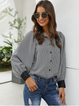 Casual Houndstooth Shirt Regular Fit Collar Long Sleeve Placket Black and White Regular Length Houndstooth Print Bishop Sleeve Blouse