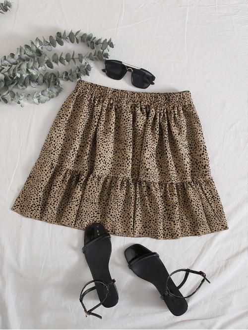 Boho A Line All Over Print Mid Waist Mocha Brown Mini Length Elastic Waist Frill Trim Dalmatian Skirt
