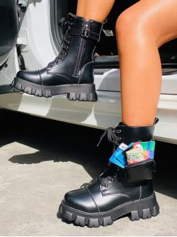 Affordable Black Combat Boots Buckle Mid Heel Pocket Decor Lace-up Front Combat Boots
