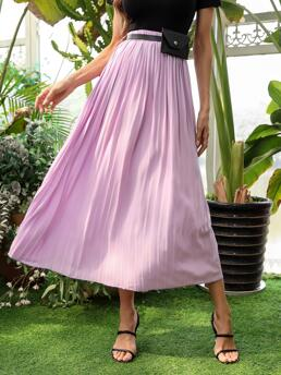 Lilac Purple High Waist Belted Pleated Solid Skirt Affordable