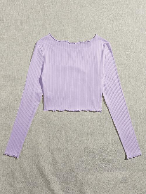 Long Sleeve Rib-knit Cotton Plain Ribbed Lettuce-edgeped Tee Discount