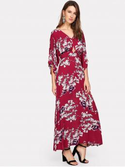 Boho Floral V neck Three Quarter Length Sleeve High Waist Multicolor Maxi Length Cutout Waist V Back Floral Kimono Dress