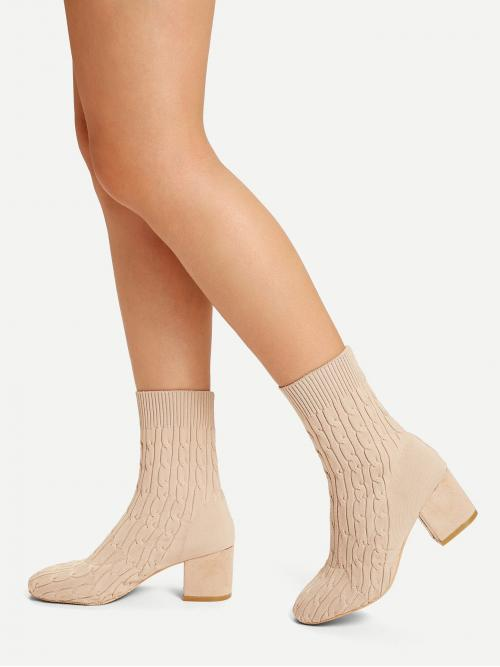 Clearance Corduroy Beige Stretch Boots Studded Cable Knit Sock Boots