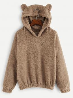 Long Sleeve Pullovers Wrap Polyester Solid Teddy Sweatshirt Clearance