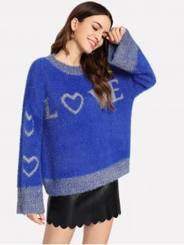 Pretty Long Sleeve Pullovers Pocket Mohair Lettering Fuzzy Sweater
