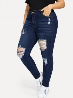 Casual Skinny Plain Slim Fit Button Fly Natural Navy Long Length Plus Distressed Skinny Jeans