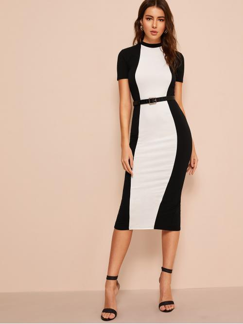 Elegant Bodycon Colorblock Pencil Slim Fit Stand Collar Short Sleeve Regular Sleeve Natural Black and White Midi Length Colorblock Bodycon Dress Without Belt