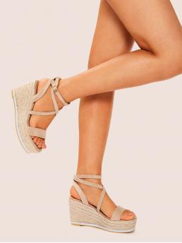 Boho Ankle Strap Apricot High Heel Espadrille Suede Open Toe Ankle Strap Wedges