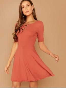 Casual and Basics Fit and Flare Plain Flared Regular Fit Round Neck Short Sleeve Regular Sleeve Natural Pink Short Length Solid V-Back Fit and Flare Dress