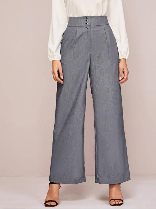 Elegant Tailored Plain Loose Button Fly High Waist Grey Long Length Button Front Wide Leg Tailored Pants