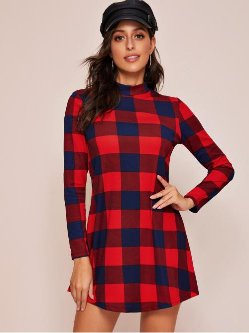 Casual Tee Gingham Straight Regular Fit Stand Collar Long Sleeve Regular Sleeve Natural Red Short Length Mock-neck Buffalo Plaid Tee Dress
