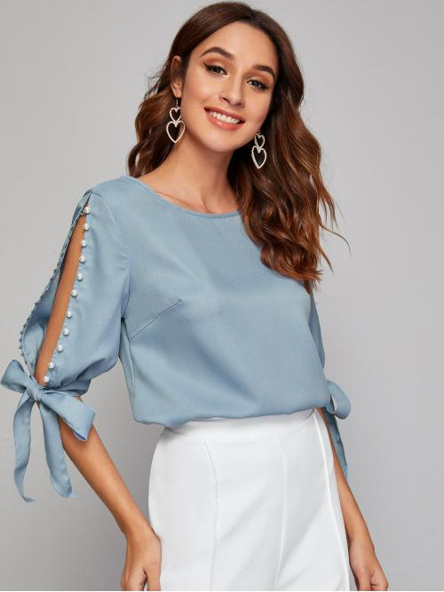 Elegant Plain Top Regular Fit Round Neck Half Sleeve Pullovers Blue and Pastel Regular Length Pearl Beaded Knot Cuff Split Sleeve Top