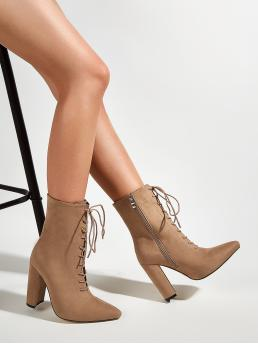 Womens Camel High Heel Chunky Point Toe Heeled Lace up Boots