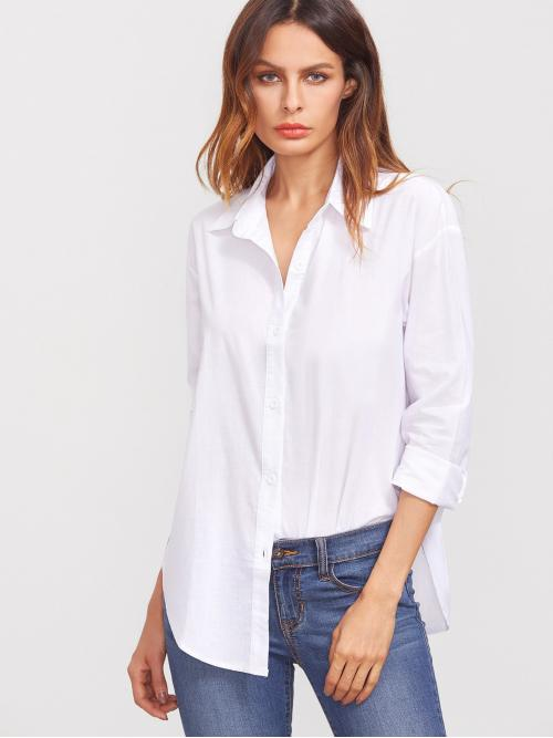 Womens Long Sleeve Shirt Button Polyester Button-up Longline Curved Hem Shirt