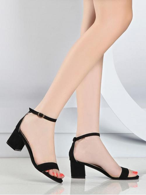 Fashion Black Strappy Sandals Mid Heel Chunky Two Part Heels