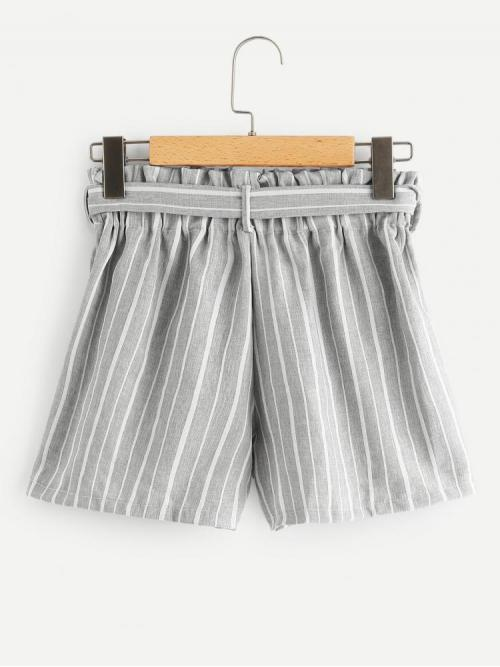 Discount Grey Natural Waist Belted Track Shorts Knot Front Shorts