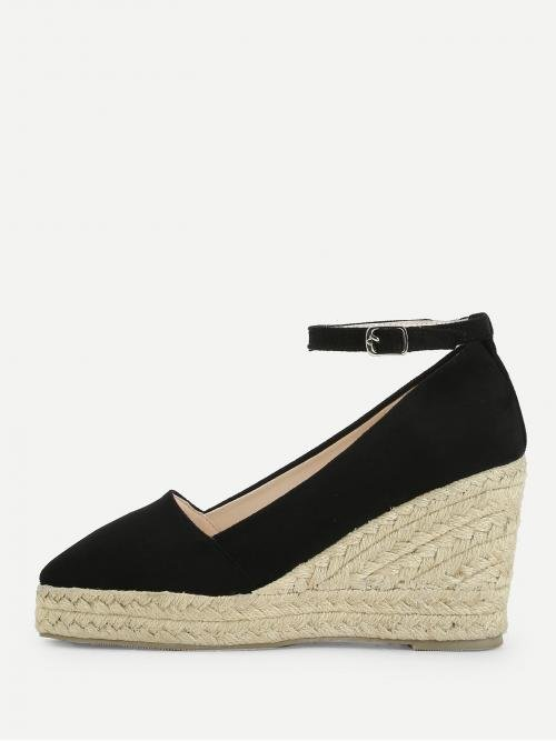 Corduroy Black Mules Scallop Ankle Espadrille Wedges Trending now
