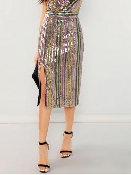 Womens Multicolor Natural Waist Contrast Sequin Slit Colorful Sequin