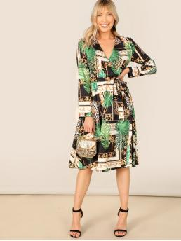 Cheap Multicolor Tropical Belted V Neck Scarf and Surplice Wrap Dress