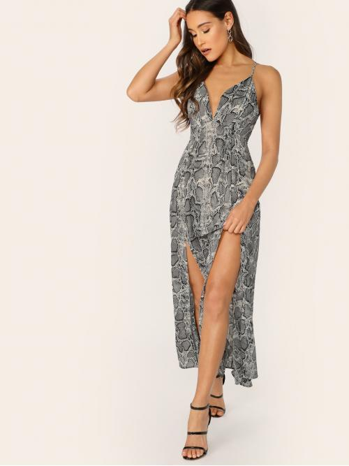 Snake Skin Pint Plunge Neck Cross Back Dress