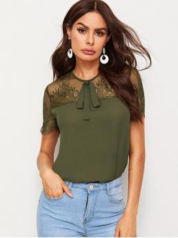 Elegant Plain Top Regular Fit Round Neck Short Sleeve Regular Sleeve Pullovers Army Green Regular Length Tie Neck Lace Yoke Tunic Top