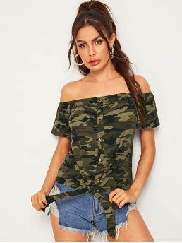 Casual Camo Regular Fit Off the Shoulder Short Sleeve Pullovers Army Green Regular Length Off Shoulder Camo Print Button Front Knot Tee