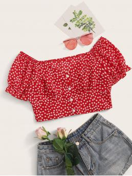 Boho Ditsy Floral Top Regular Fit V neck Short Sleeve Flounce Sleeve Placket Red Crop Length Daisy Print V Neck Crop Top