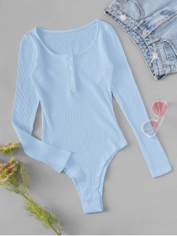 Casual Tee Plain Skinny Scoop Neck Long Sleeve Mid Waist Blue Half Button Rib-knit Solid Bodysuit