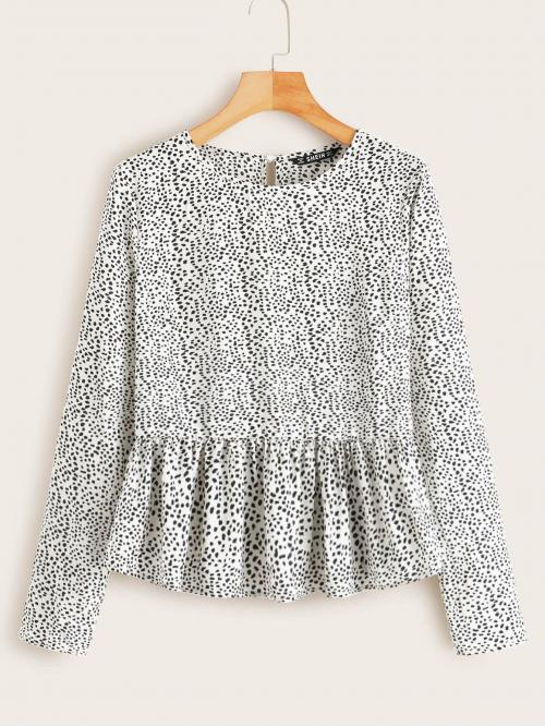 Cute All Over Print Flared Peplum Regular Fit Round Neck Long Sleeve Regular Sleeve Pullovers Black and White Regular Length Dalmatian Print Keyhole Back Smock Top