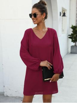 Casual Tunic Plain Straight Regular Fit V neck Long Sleeve Regular Sleeve Natural Burgundy Short Length V-neck Solid Tunic Dress with Lining