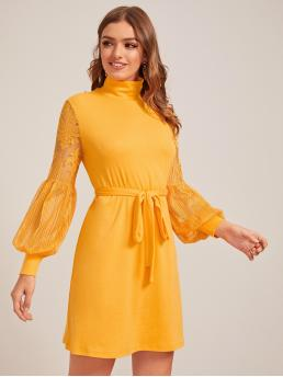 Elegant Tunic Plain Straight Regular Fit High Neck Long Sleeve Bishop Sleeve High Waist Yellow and Bright Short Length High Neck Lace Lantern Sleeve Self Belted Dress with Belt