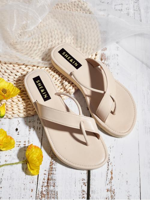Flip Flops Plain Beige Low Heel Toe Post Cross Strap Slippers