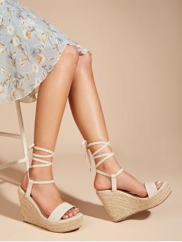 Polyester Apricot Mules Belted Toe Leg Espadrille Wedges Fashion