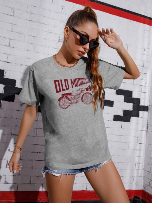 Short Sleeve Cotton Graphic Grey Motorcycle and Tee Ladies