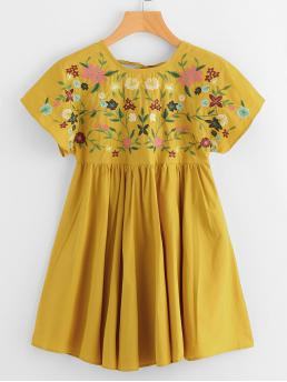 Cute Smock Floral Flared Regular Fit Round Neck Short Sleeve High Waist Yellow Short Length Flower Embroidered Tie Up V Back Smock Dress