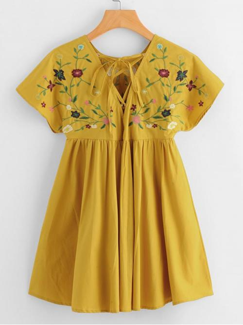 Affordable Yellow Floral Lace up Round Neck Flower Embroidered Tie up V Back Dress
