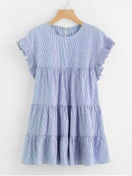 Blue Striped Frill Round Neck Vertical Tiered Peasant Dress Ladies