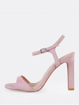Open Toe Ankle Strap Pink High Heel Chunky Ankle Strap Single Sole Sandal Heels LILAC
