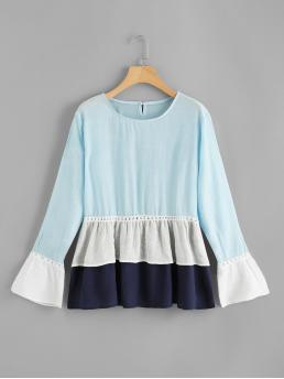 Cute Top Regular Fit Round Neck Long Sleeve Multicolor Flounce Sleeve Ruffle Hem Blouse