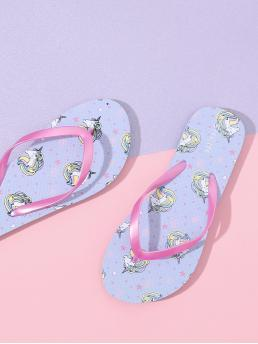 Unicorn Pattern Toe Post Slippers