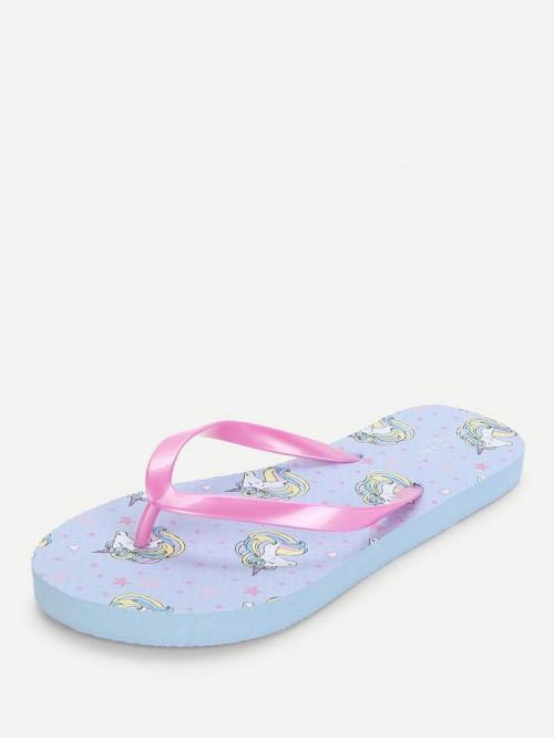 Women's Mesh Blue Thong Sandals Asymmetrical Unicorn Pattern Slippers
