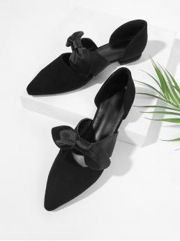 Casual Point Toe Black Bow Detail Ballet Flats
