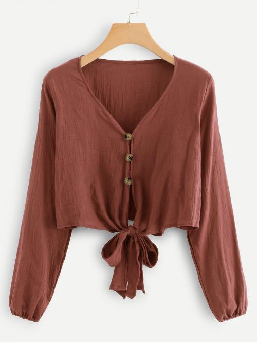 Long Sleeve Shirt Button Guipure Lace Front Knot Blouse Discount